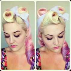 Retro hair style, cotton candy color. I LOVE IT!!