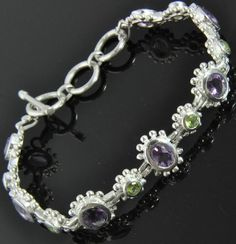 New Sterling Silver 7.61 TW Amethyst & Peridot Link Chain Toggle Bracelet NWOT #Chain