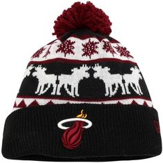 bb6fb54413b Miami Heat New Era Mooser Knit Hat with Pom т Black Nba Miami Heat