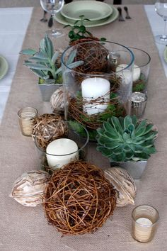 Centerpiece Ideas - Texture Mixing - I like the mix of textures on these banquet tables. You could do a simplified version of this. Burlap or lace runner, succulent favors, mason jars with flowers, and candles. told you I would go crazy:) Wedding Centerpieces, Wedding Decorations, Wedding Tables, Centrepieces, Simple Centerpieces, Centerpiece Ideas, Everyday Centerpiece, Fishbowl Centerpiece, Succulent Centerpieces