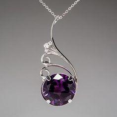Retro Color Change Sapphire & Diamond Pendant Necklace w/ Pin 14K White Gold