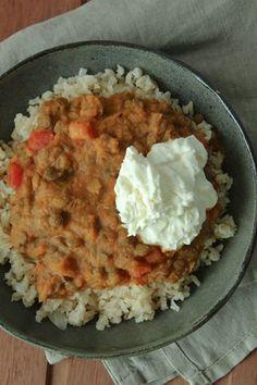 Curry de lentilha com abóbora