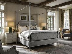 Feel like the king or queen you are with the Universal Furniture Sojourn Respite Upholstered Canopy Bed . This lovely canopy-style bed frame is constructed. Queen Canopy Bed, Metal Canopy Bed, Canopy Bed Frame, Canopy Beds, Pvc Canopy, Ikea Canopy, Princess Canopy, Hotel Canopy, Window Canopy