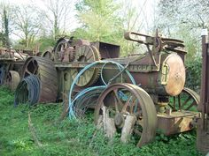 These photographs by Ian Comley were taken a couple of years ago and show the remains of Fowler ploughing engine diesel conversions lying derelict at Wixford, near Stratford-upon-Avon. Once owned. Steam Tractor, Stratford Upon Avon, Train Table, Antique Tractors, Steam Engine, Color Theory, Model Trains, Locomotive, Diesel