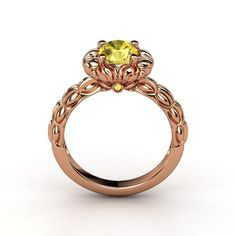 Round Citrine 14K Rose Gold Ring with Black Onyx - lay_down