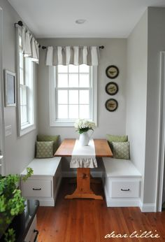 Lovely little nook transformed into dining booth - small space design