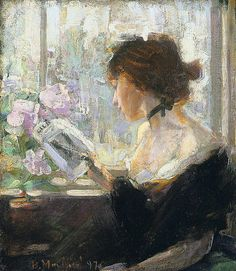Elizabeth Reading (1897). Bessie MacNicol (Scottish, 1869-1904).  Favourite subjects were young girls painted en plein air against trees in dappled sunlight. She painted other works, in watercolour as well as in oil, that show her interest in fashions of the past. Her working life lasted only ten years, as she died in childbirth at the age of 34.
