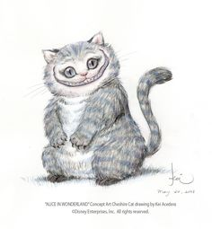 Here is one of many Cheshire Cat concept art drawings Kei Acedera did for Tim Burton's Alice in Wonderland. This drawing will be one of many Alice in Wo. Cheshire Cat Drawing, Chesire Cat, Cute Cat Drawing, Lewis Carroll, Art Tim Burton, Tim Burton Kunst, Adventures In Wonderland, Alice In Wonderland, Cheshire Cat Zeichnung