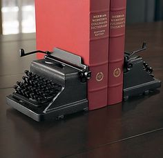 typewriter bookends from Restoration Hardware - you could use two vintage typewriters I Love Books, My Books, Vintage Typewriters, Up House, Book Nooks, Book Of Life, Restoration Hardware, Book Lovers, Bookends