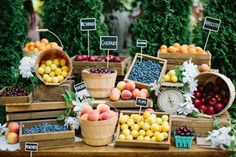 This couple encouraged guests to shop a mini fruit stand at their lunch-hour celebration!