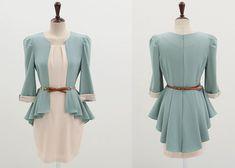 Elegant & Fashionable OL Leave Two Full Coverage Dress----White top dresses