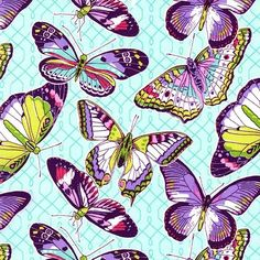 Michael Miller - Aflutter - Aqua fabric - Patty Sloniger Part of the Emma's Garden collection by Patty Sloniger for Michael Miller Tissu Michael Miller, Michael Miller Fabric, Butterfly Wallpaper, Butterfly Art, Butterfly Kisses, Butterflies, Cotton Crafts, Fabric Crafts, Aqua Fabric