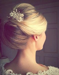 Semi beehive wedding hair