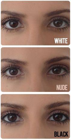 Soulignez vos yeux de blanc, nude et noir pour «modifier» la forme de vos yeux. | 21 astuces de maquillage que toutes les débutantes devraient connaître