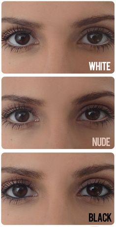 """Tightline your eyes with white, nude, and black to """"change"""" the shape of your…"""