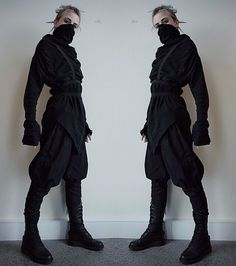 """crowrunner: """" Dark Elf Assassin Maybe if I dress like a gothic Elven ninja I can hide from my assignments! So much to do, but at least it truly feels like autumn this week Top - BytheR Pants - Dark Knight Armoury (Larp pants ) Boots - Dr. Cyberpunk Mode, Cyberpunk Fashion, Estilo Tomboy, Dystopian Fashion, Apocalyptic Fashion, Post Apocalyptic, Dark Mori, Character Outfits, Mode Outfits"""