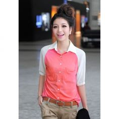 Turndown Collar Three Quarter Sleeve Shirt