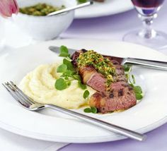Griddled rump steak with watercress, hazelnut & red chilli pesto recipe