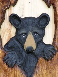 Bear Cub in Tree Chainsaw Carving  Wall Carved by BearHollowStudio, $125.00