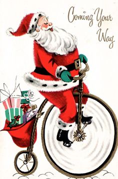 Santa on an old-fashioned bicycle