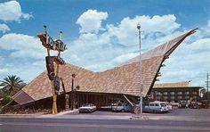 https://flic.kr/p/agEid | Kon Tiki Hotel Phoenix, AZ Postcard | This building and sign are tiki-googie fun!