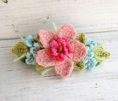 Crochet Hair Barrette Pink with Blue Flowers by meekssandygirl, $15.00  So pretty!
