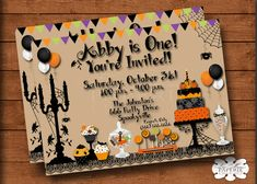 halloween invitation halloween birthday por LisaMariesPaperie