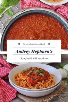 Audrey Hepburn's Spaghetti al Pomodoro is simple to make yet a classic Italian pasta sauce that combines only the best organic ingredients with organic pasta. Easy Pasta Sauce, Pasta Sauces, Pasta Dishes, Sauce Recipes, Pasta Recipes, Dinner Recipes, Cooking Recipes, Dinner Ideas, Spaghetti Recipes