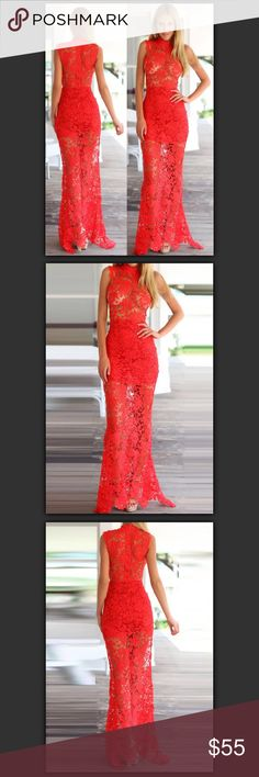 """‼️Labor Day Sale‼️Lace Goddess Maxi Dress Delicateintricatelace. Center back red zipper. Raw lace edges. Fishtail hemline. Bodice unlined (bra not included). Asymmetrical hemline. High neck adding a dramatic sexy vibe.  100% Polyester (Non stretchy). Partially Lined (only Skirt Lined).   Approx Measurements: Length 61""""(shoulder to hem), Chest 15.5""""(underarm to underarm), Waist 12""""(flat), Hips 16.5""""(flat)  EXACTLY like the pics Xenia Dresses Maxi"""