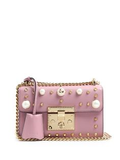GUCCI Padlock studded leather shoulder bag. #gucci #bags #shoulder bags #lining #suede #