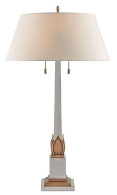 "Currey & Company | Tria table lamp | #6313 | from the Lillian August collection | eggshell shantung shade | 17""dia x 30""h."