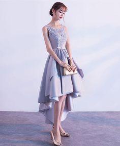 Cute gray high low prom dress, lace prom dress #promdress #homecomingdresses #dress #prom
