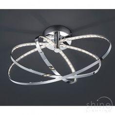 Prater R62703106 by Trio LightingA modern semi flush LED ceiling light.  Finished in Chrome.   1 x 13w 3000K SMD-LED (1170 lumens) (Included)   Height: 25.5cm   Diam: 44cm  £174.50