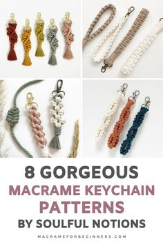 Are you looking for a fun and small Macrame project that's super easy to make? Get started with DIY Macrame Keychain tutorials! Here are 8 beginner-friendly and free keychain patterns by Soulful Notions! Macrame keychains are really easy to make and the perfect quick projects for leftover cord scraps. When you're looking for key clasps and keyrings, I can recommend checking Etsy for local suppliers. Check this list for some of our favorite finds! #macrame #macramekeychain #macramepattern