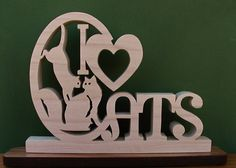 I Love Cats Desk Sign Unique Gift Cut On Scroll by DukesScrollSaw, $8.50