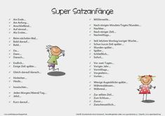 Satzanfänge Writing A Book, Writing Tips, German Grammar, German Language Learning, Teaching Time, Learn German, First Day Of School, Primary School, Kids Learning