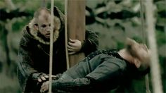 Travis Fimmel as Ragnar Lothbrok and Gustaf Skarsgård as Floki in Vikings Vikings Show, Vikings Season, Vikings Tv Series, Lagertha, Ragnar Lothbrok Vikings, History Channel, Gustaf Skarsgard, Alexander Skarsgard, Vikings Travis Fimmel
