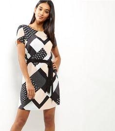 Black Geo Print Belted Tunic Dress   New Look