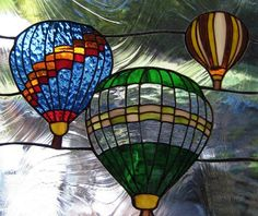 Stained glass hot air balloon art. I would like to make this once I set up my shop/studio.
