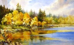 Autumn Lake , Watercolor painting of Duck Creek on Cedar Mountain - Watercolor Paintings by Roland Lee