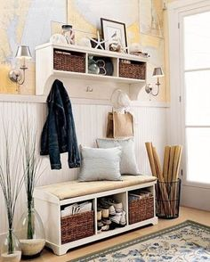 Functional Entry Bench With Storage : Entryway Benches With Storage Organizing Perfect Entryway Bench Storage, Entry Bench, Bench With Storage, Entryway Ideas, Entryway Organization, Shoe Storage, Storage Rack, Mudroom Shelf, Storage Spaces
