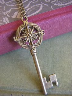 Antique Brass Compass Key Necklace .... The key is to know where you are going.