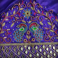 Peacock Blouse Designs, Peacock Embroidery Designs, Latest Embroidery Designs, Best Blouse Designs, Wedding Saree Blouse Designs, Simple Blouse Designs, Silk Saree Blouse Designs, Blouse Neck Designs, Sleeve Designs