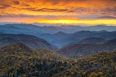 A stunning autumn sunset along the Blue Ridge Parkway in the Blue Ridge Mountains of Western NC.