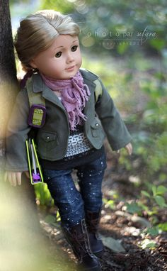 Beautiful picutre of a doll wearing the Pine Gap Jacket from the Liberty Jane Fall 2011 International Collection