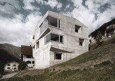 Concrete Home in Switzerland by AFGH. on the Brutalist spectrum of architecture I'd say.