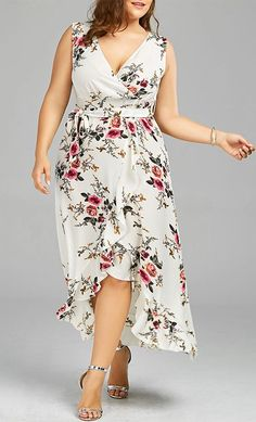 Wholesale Plus Size Tiny Floral Overlap Flounced Flowy Beach Dress WHITE , Plus Size Dresses - Rosewholesale Vestidos Plus Size, Plus Size Dresses, Plus Size Outfits, Plus Size Bohemian Dresses, Plus Size Boutique Dresses, Curvy Fashion, Plus Size Fashion, Men Fashion, Cheap Fashion