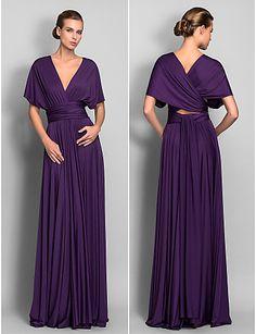 bainha / coluna camisa do assoalho-comprimento vestido conversível (633.753) - BRL R$ 217,96