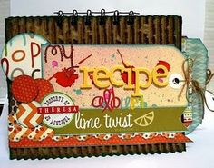 Lynnda took a parcel box and made a very cute recipe book.cuuuuute tags and minimal embellishments.really turned out precious for any occasion. Homemade Recipe Books, Dt Post, Parcel Box, Recipe Scrapbook, Book Projects, Happy Friday, Embellishments, Lime, Minimal