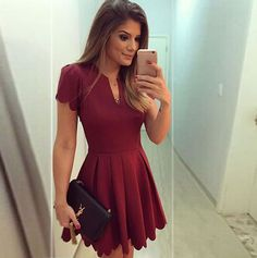 New 2016 Summer Women Fashion Knee-Length Dresses Sweet Scallop Pleated Skater Dress Vestidos Manga Larga Vestidos Sexy, Dress Vestidos, V Neck Dress, Dress Skirt, Dress Up, Flare Dress, Maroon Dress Outfit, Dress Long, Pleated Skirt